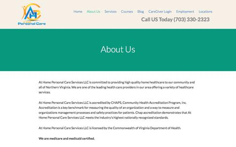 Screenshot of About Page homepersonalcareva.com - About Home Health Care in Northern Virginia - captured Oct. 9, 2017