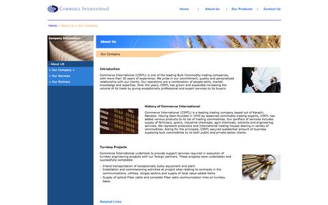 Screenshot of About Page comintl.com - Commerce International - Pakistan - captured Oct. 2, 2014