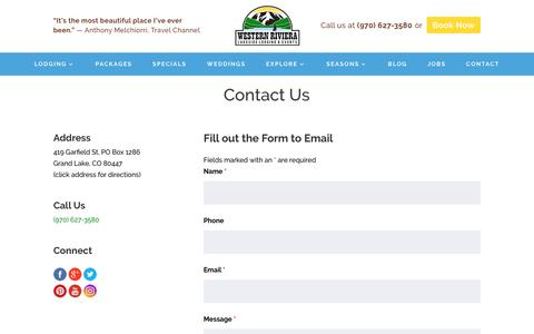 Screenshot of Contact Page westernriv.com - Contact - Western Riviera - captured Oct. 20, 2018