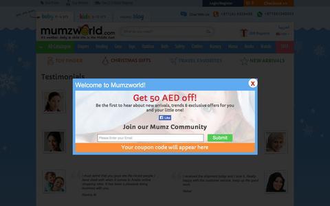 Screenshot of Testimonials Page mumzworld.com - Testimonials - captured Nov. 25, 2015