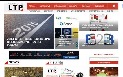 Screenshot of Home Page letstalkpayments.com - Let's Talk Payments | Global. Payments. Innovation - captured Dec. 9, 2015