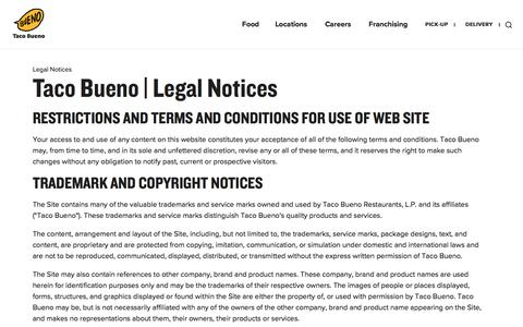 Screenshot of Terms Page tacobueno.com - Legal Notices - Taco Bueno - captured Oct. 14, 2019