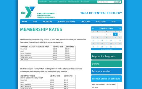 Screenshot of Pricing Page ymcacky.org - Membership Rates - YMCA of Central Kentucky - captured Oct. 3, 2014