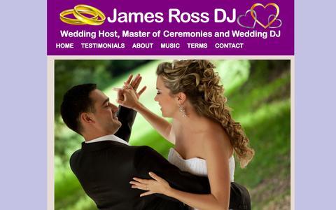 Screenshot of Home Page jamesrossdj.com - James Ross DJ - captured Sept. 30, 2014