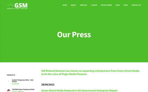 Screenshot of Press Page greenstreetmedia.eu - Our Press - Green Street Media - captured July 24, 2018