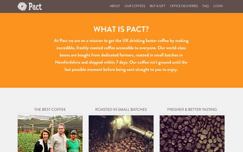Screenshot of About Page pactcoffee.com - Pact | Delivering fresh, better tasting coffee - captured Dec. 17, 2014