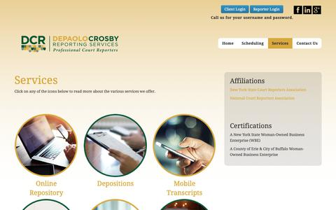 Screenshot of Services Page depaolocrosby.com - Services | Depaolo-Crosby Reporting - captured Oct. 8, 2018