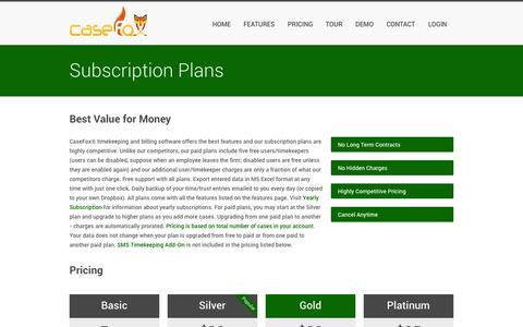 Screenshot of Pricing Page casefox.com - Subscription Plans – Online Legal Time and Billing Software for Lawyers         law firms - captured Sept. 19, 2014