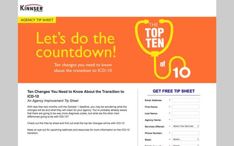 Screenshot of Landing Page kinnser.com - Free Tip Sheet | Top 10 Changes in ICD-10 - captured Aug. 20, 2016