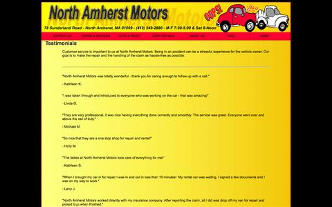 Screenshot of Testimonials Page northamherstmotors.com - Auto Repair Reviews Pelham, Amherst, South Amherst, Sunderland MA| Amherst - captured Sept. 30, 2014