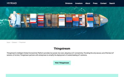 Screenshot of Products Page myriadgroup.com - Thingstream - Myriad Group - captured Sept. 29, 2018