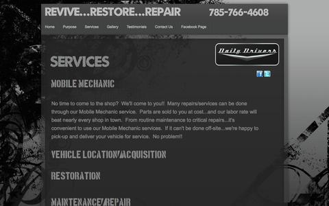 Screenshot of Services Page evansdailydrivers.com - Services - captured Oct. 5, 2014