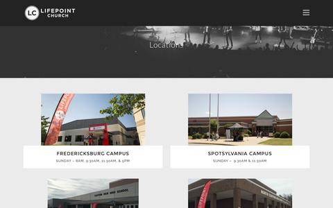 Screenshot of Locations Page lifepoint.org - Locations - Lifepoint Church - captured Nov. 9, 2016