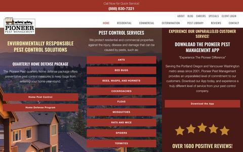 Screenshot of Home Page pioneerpest.com - Certified Pest Control - Over 1600 5-Star Reviews - Portland & Vancouver - captured Sept. 28, 2018