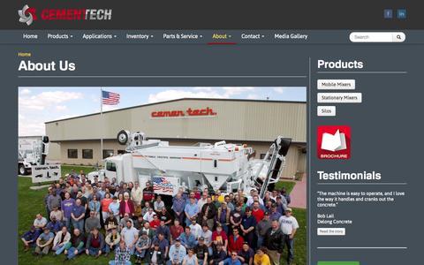 Screenshot of About Page cementech.com - About Us   Cemen Tech - captured Oct. 2, 2014