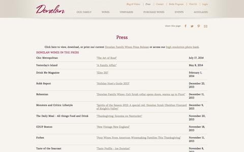 Screenshot of Press Page donelanwines.com - Donelan Family Wines in the Press | Boutique Winery in Sonoma County - California Wineries - captured Oct. 5, 2014
