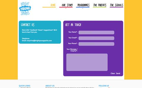 Screenshot of Contact Page brightyoungsparks.com - Contact - captured Jan. 7, 2016