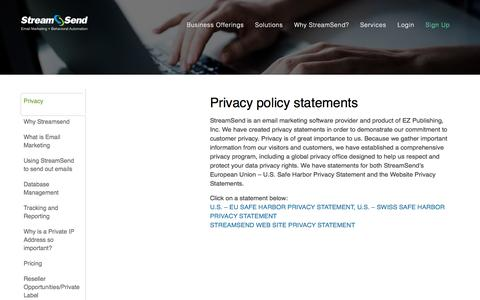 Email Marketing Solutions - StreamSend Privacy Policy