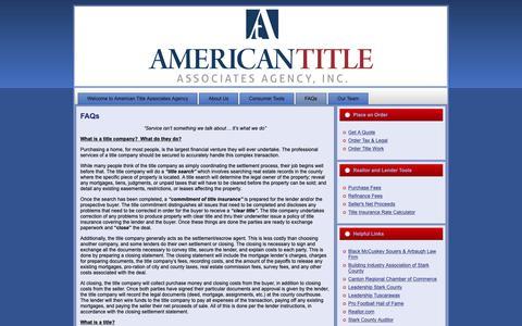Screenshot of FAQ Page amtitle.com - American Title Associates Agency: FAQs - captured Oct. 2, 2018