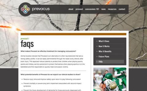 Screenshot of FAQ Page prevacus.com - FAQs - Prevacus - captured Sept. 12, 2014