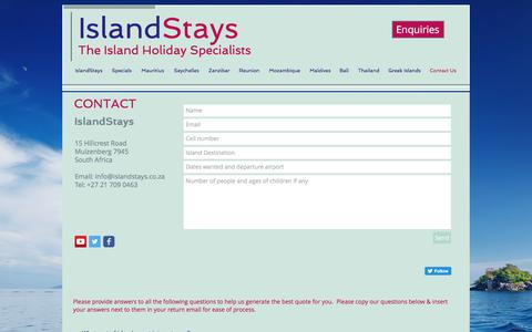 Screenshot of Contact Page islandstays.co.za - Contact Us - captured June 8, 2017