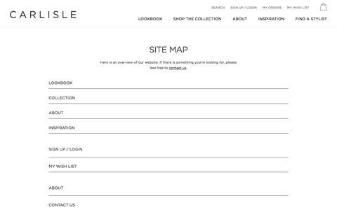 Screenshot of Site Map Page carlislecollection.com - Site Map | Carlisle - captured July 15, 2017