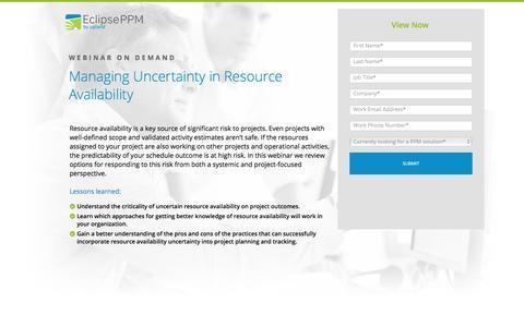 Screenshot of Landing Page uplandsoftware.com - Eclipse PPM Webinar: Managing Uncertainty in Resource Availability - captured April 20, 2018