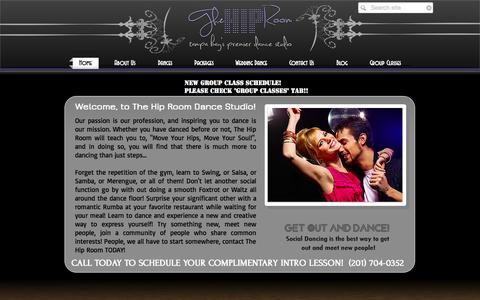 Screenshot of Home Page thehiproom.com - The Hip Room Dance Studio - captured Oct. 7, 2014