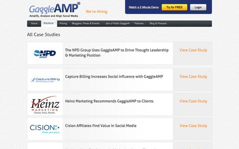 Screenshot of Case Studies Page gaggleamp.com - GaggleAMP Case Studies | GaggleAMP - captured Sept. 18, 2014