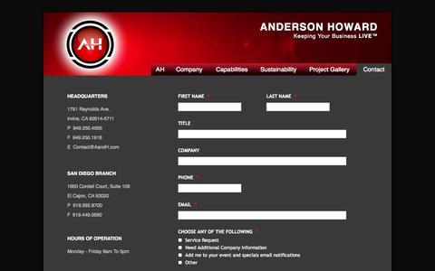 Screenshot of Contact Page aandh.com - Anderson Howard Contact - captured Oct. 4, 2014