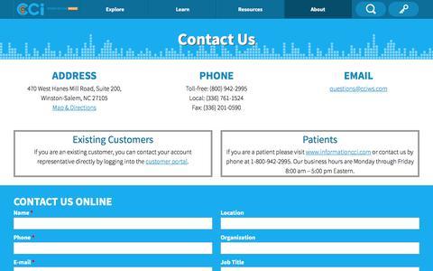 Screenshot of Contact Page ccipowerinside.com - Contact - captured Oct. 5, 2016