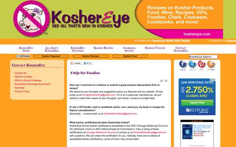 Screenshot of FAQ Page koshereye.com - Kosher FAQ for Foodies from Kosher Eye - captured Feb. 13, 2017