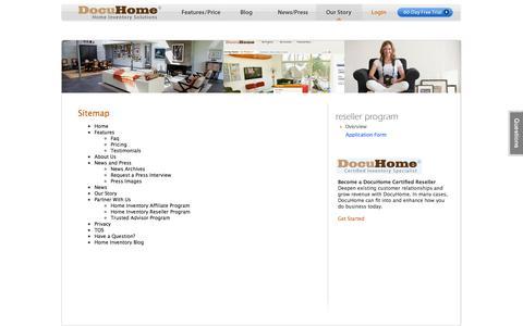 Screenshot of Site Map Page docuhome.com - Site Map : Household Inventory : Home Inventory Software : DocuHome.com - captured Sept. 30, 2014