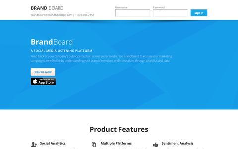 Screenshot of Home Page brand-board.com - Brand Board   Social Media   Listening platform - captured Oct. 1, 2014
