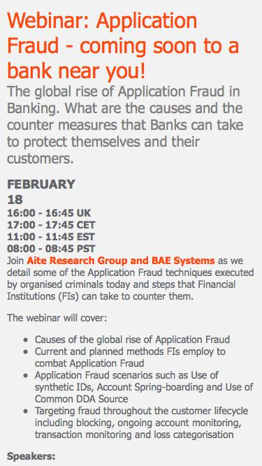 Webinar: Application Fraud - coming soon to a bank near you!