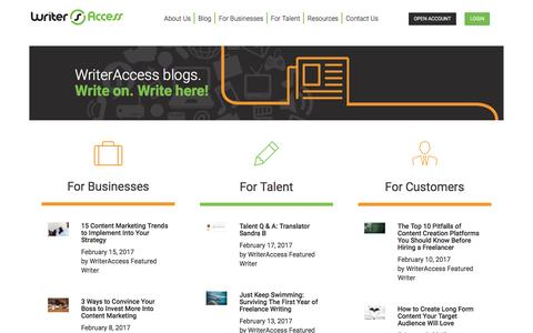 Screenshot of Blog writeraccess.com - Blog - WriterAccess :WriterAccess - captured Feb. 18, 2017