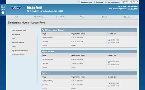 Screenshot of Hours Page lucasfordlincolnsales.com - Dealership Hours at Lucas Ford - Your Southold, New York Ford dealer - captured Oct. 3, 2014
