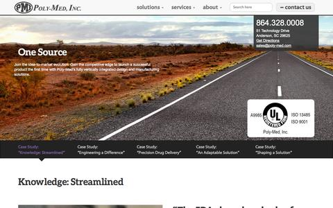 Screenshot of Case Studies Page poly-med.com - Knowledge: Streamlined | Poly-Med, Inc. - captured Oct. 3, 2014