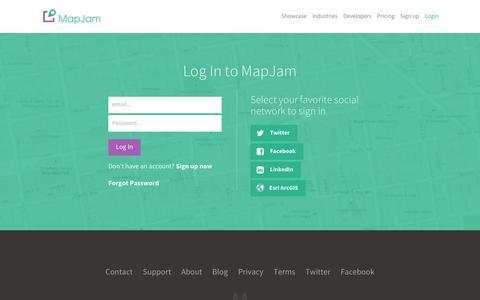 Screenshot of Login Page mapjam.com - MapJam | Login - captured May 5, 2016