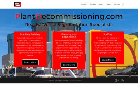 Screenshot of Home Page plantdecommissioning.com - Plant Decommissioning | Reactor Vessel Segmentation Specialists - captured Sept. 28, 2018