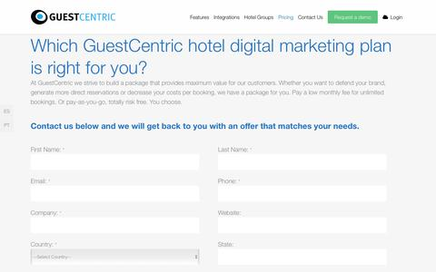 Screenshot of Pricing Page guestcentric.com - Pricing for GuestCentric's digital marketing for hotels - captured Dec. 3, 2015