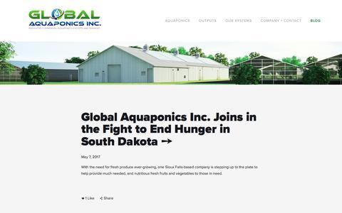 Screenshot of Blog globalaquaponicsinc.com - Blog — GLOBAL AQUAPONICS INC. - captured May 18, 2017