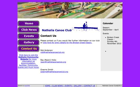 Screenshot of Contact Page nathaliacanoeclub.org - Nathalia Canoe Club - captured Jan. 6, 2017