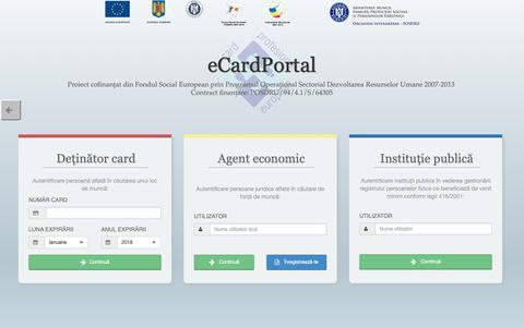 Screenshot of Login Page card-profesional.ro - eCardPortal - captured Oct. 26, 2018