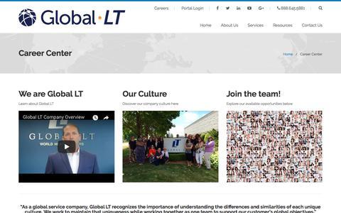 Screenshot of Jobs Page global-lt.com - Career Center   Global LT - captured July 19, 2018
