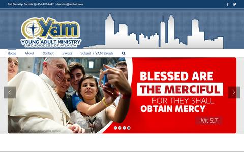 Screenshot of Home Page yam.org - Young Adult Ministry – Connecting Single and Married Young Adults with Jesus, the Catholic Church, and One Another - captured April 1, 2016