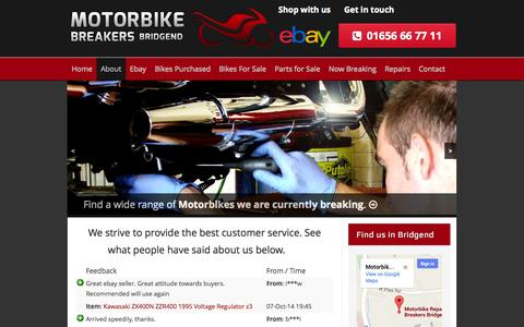 Screenshot of Testimonials Page motorbikebreakersbridgend.co.uk - Testimonials - Motorbike Breakers Bridgend - captured Oct. 7, 2014