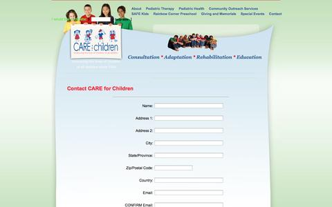 Screenshot of Contact Page Signup Page careforchildren.info - Contact CARE for Children - captured Oct. 22, 2014