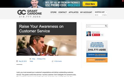 Screenshot of Support Page grantcardone.com - Raise Your Awareness on Customer Service - Grant Cardone - Sales Training - captured Oct. 21, 2016