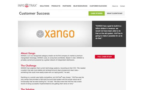 Screenshot of Case Studies Page infotraxsys.com - Case Studies > Customer Success > InfoTrax Systems - captured Oct. 30, 2014